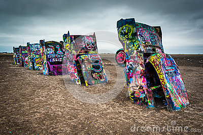 The Cadillac Ranch, along Historic Route 66 in Amarillo, Texas.