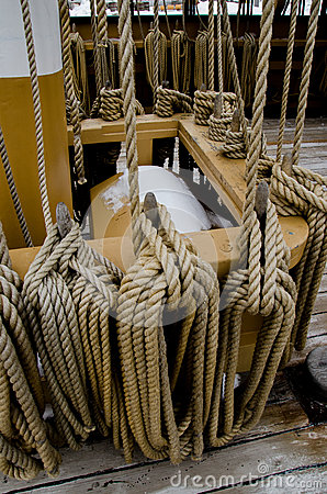Rigging at the Charles W. Morgan whaleship - Mystic Seaport, Connecticut, USA
