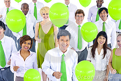 International Green Business People Meeting Balloon