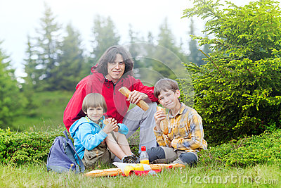 Family have got pic nic in forest