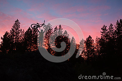 Mountain Biker standing on top of hill at sunset with trees