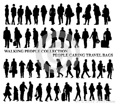 Silhouettes of walking people, caring bags, talking on the phone etc.