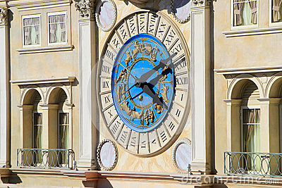 Decorative clock on Venetian Resort hotel and casino facade, Las