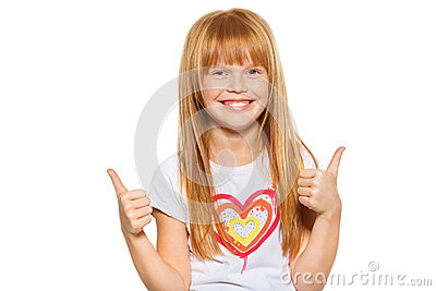 Cute little girl showing thumbs up with both hands, isolated on white
