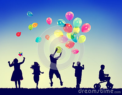 Group Children Freedom Happiness Imagination Innocence Concept