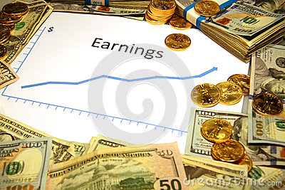 Chart of earnings rising up with money and gold