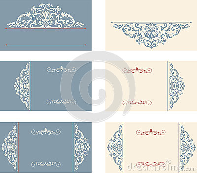 Set of business cards with victorian pattern