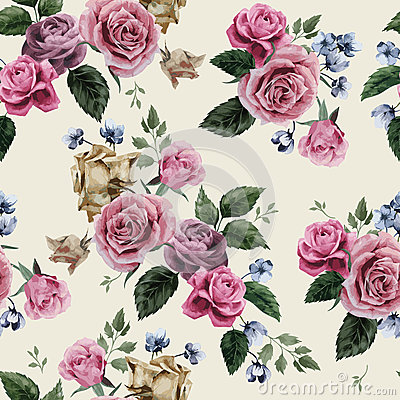 Seamless floral pattern with pink roses on light background, wat