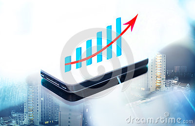 Double expose of business graph on smart phone