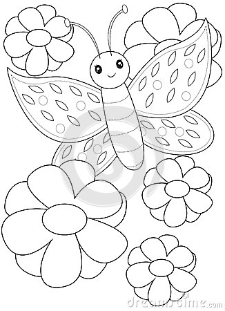 butterfly coloring page painting sketches - Painting Sketches For Kids