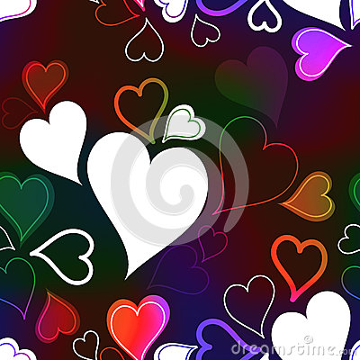 Colorful Neon Rainbow Hearts Seamless Background