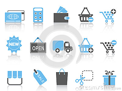 Shopping icons set ,blue series