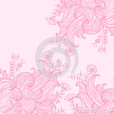 Vector color abstract hand-drawn background with waves