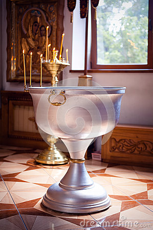 Bowl for baptism in the Orthodox Church