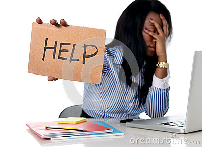 Black African American ethnicity frustrated woman working in stress at office