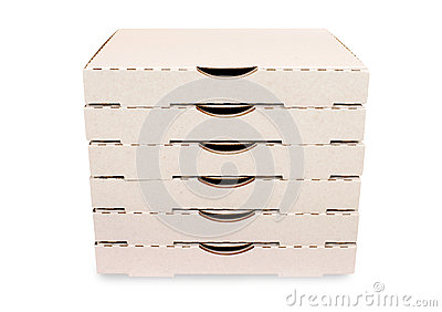Stack of plain white pizza boxes, isolated