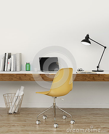 Elegant white home office with yellow chair