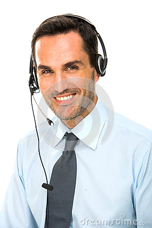 man with headset working as a call center operator