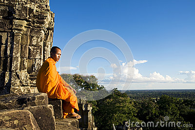 Traditional Contemplating Monk in Cambodia Concept