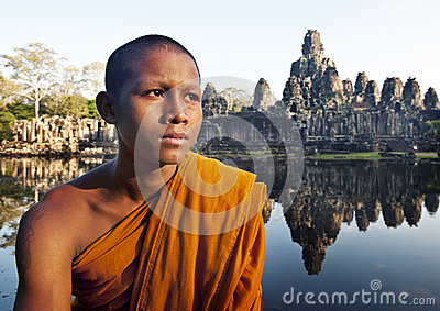 Ancient Buddhism Contemplating Monk Cambodia Concept