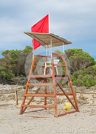 Empty lifeguard tower.