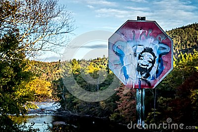 A defaced stop sign in the mountains with Castro's face