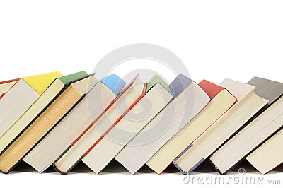 Slanted row of books, leaning, isolated on white background, copy space