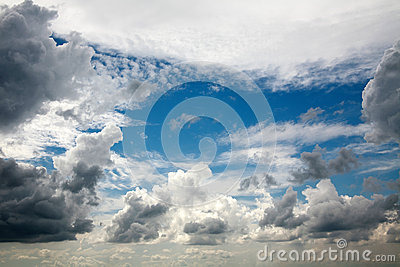 Beautiful dreamy scene of air clouds on blue sky background