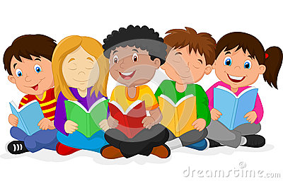 Happy children cartoon lying on the floor while reading books