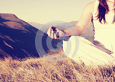 Lady Meditating Lotus Position Top Mountain Concept
