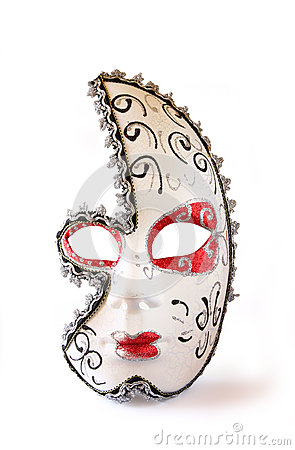 Dramatic and mysterious half moon carnival mask isolated on white