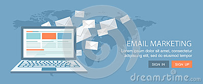 Flat banner set.Internet commerce and email marketing illustrati