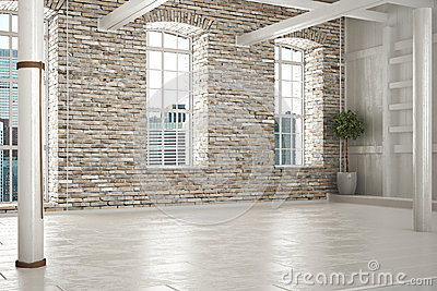 Empty room of business,or residence with brick interior