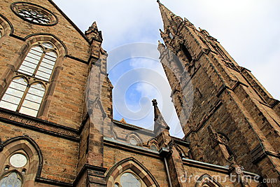 Gorgeous old gothic architecture of stone church