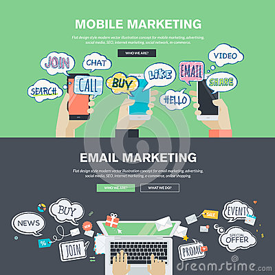 Set of flat design illustration concepts for mobile and email marketing