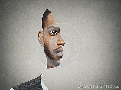Optical illusion portrait front with cut out profile of a man