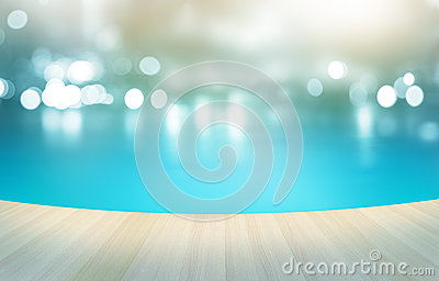 Wooden floor tropical swimming pool on pastel background, soft and blur