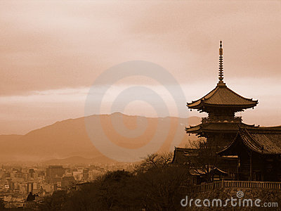 Pagoda Overlooking Kyoto Japan