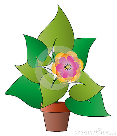 Vector potted plant with flower