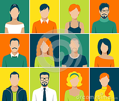 Flat avatar app icons set user face people vector