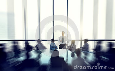 The Leader Of The Business People Giving A Speech Conference