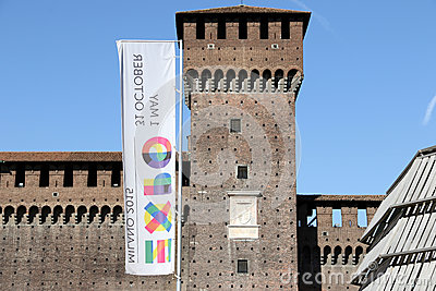 Milano,milan castello sforzesco expo official flag