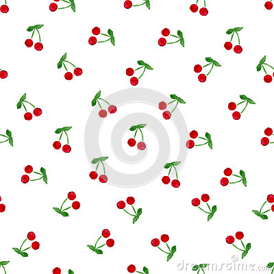 Hand painted color cherry seamless background. Watercolor red fruit  template texture.