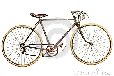 Vintage rusted race bike isolated on white