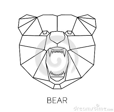 Vector Color Illustration With Geometric Bear Of