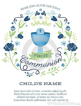 Blue and Green Boys First Holy Communion Invitation with Chalice and Flowers