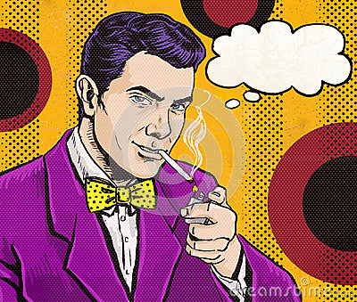 Vintage Pop Art Man with cigarette  and with speech bubble.Party invitation. Man from comics.Playboy.Dandy.