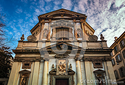 Ornate Facade of Saint Giuseppe Church in Milan