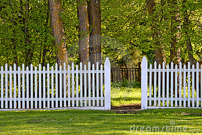 White Picket Fence in Park