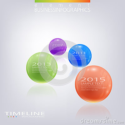 Modern 3d glossy ball elements vector timeline